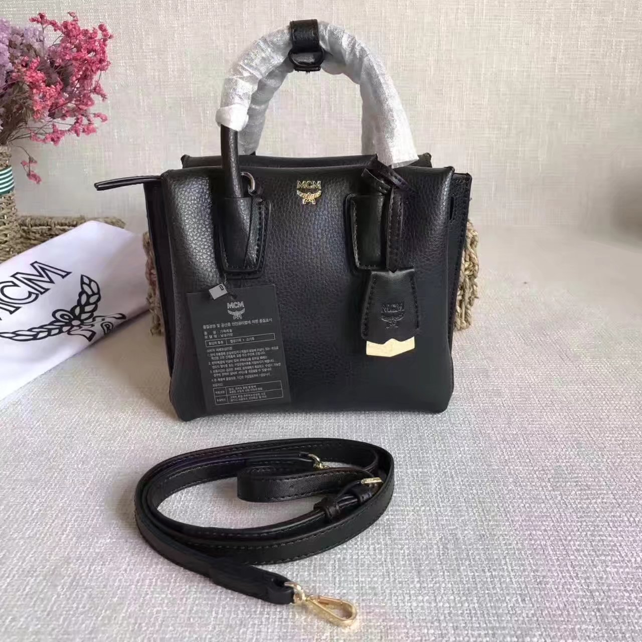 MCM Women Mini Leather Tote Bag Black