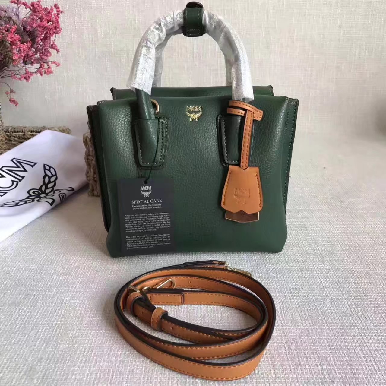MCM Women Mini Leather Tote Bag Green