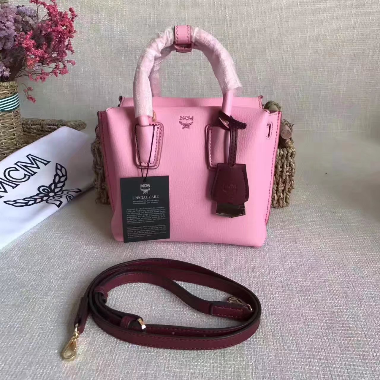 MCM Women Mini Leather Tote Bag Pink