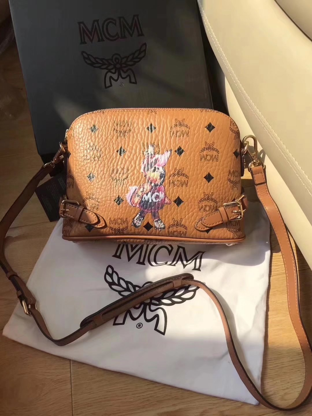 MCM Women Rabbit Leather Shoulder Bag Cognac