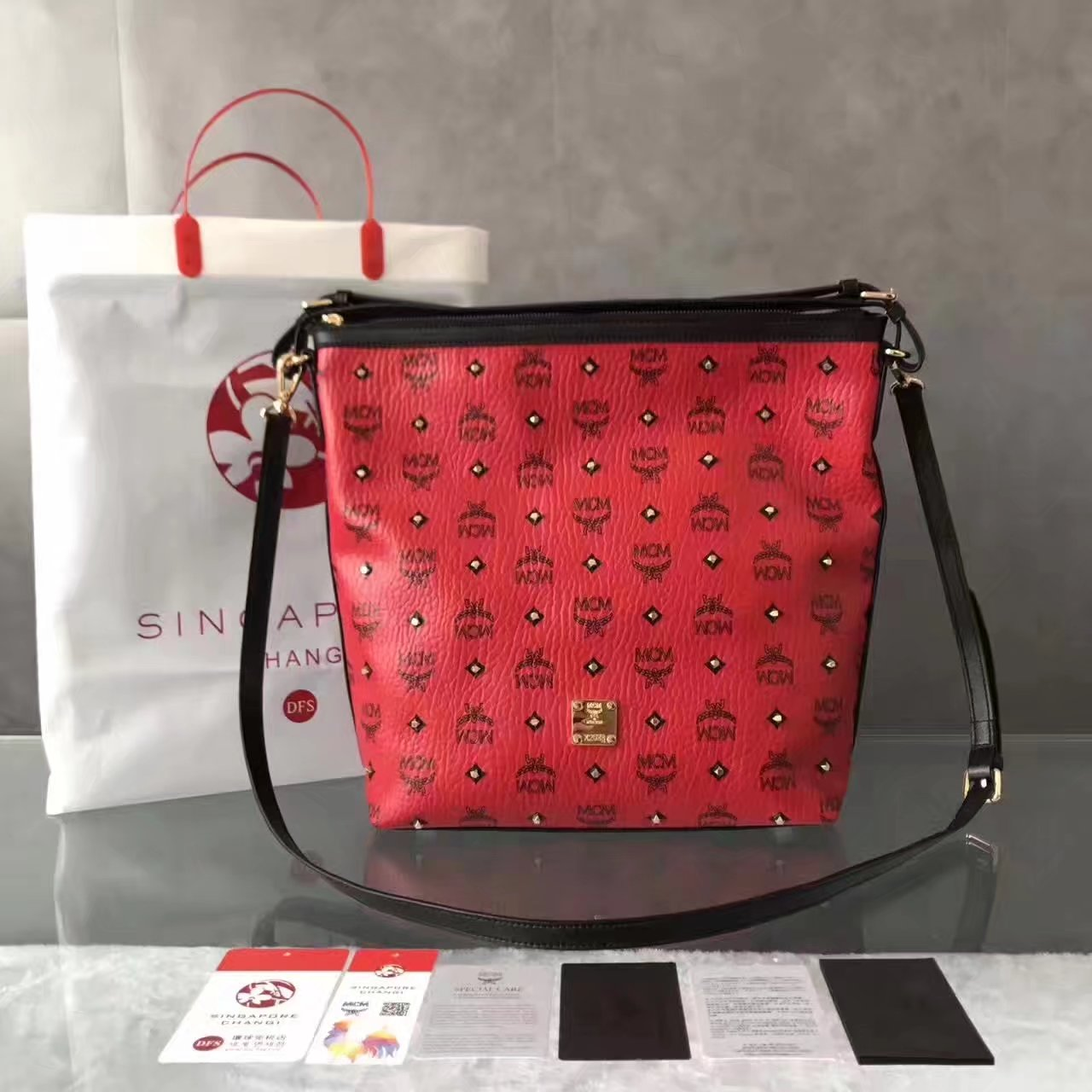 MCM Women Small Shoulder Bag Red