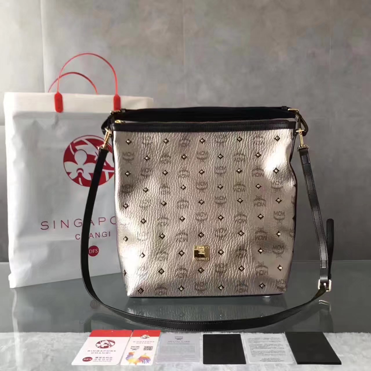 MCM Women Small Shoulder Bag Silver
