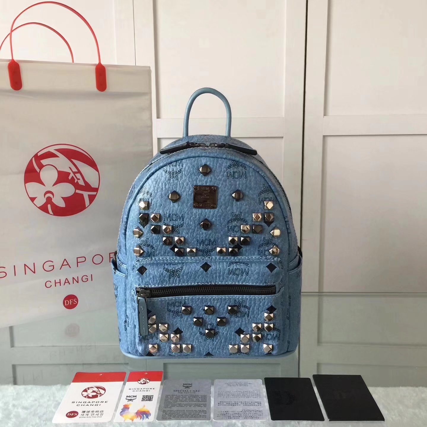 MCM Women Stark Backpack In Studded Visetos 3Size Blue