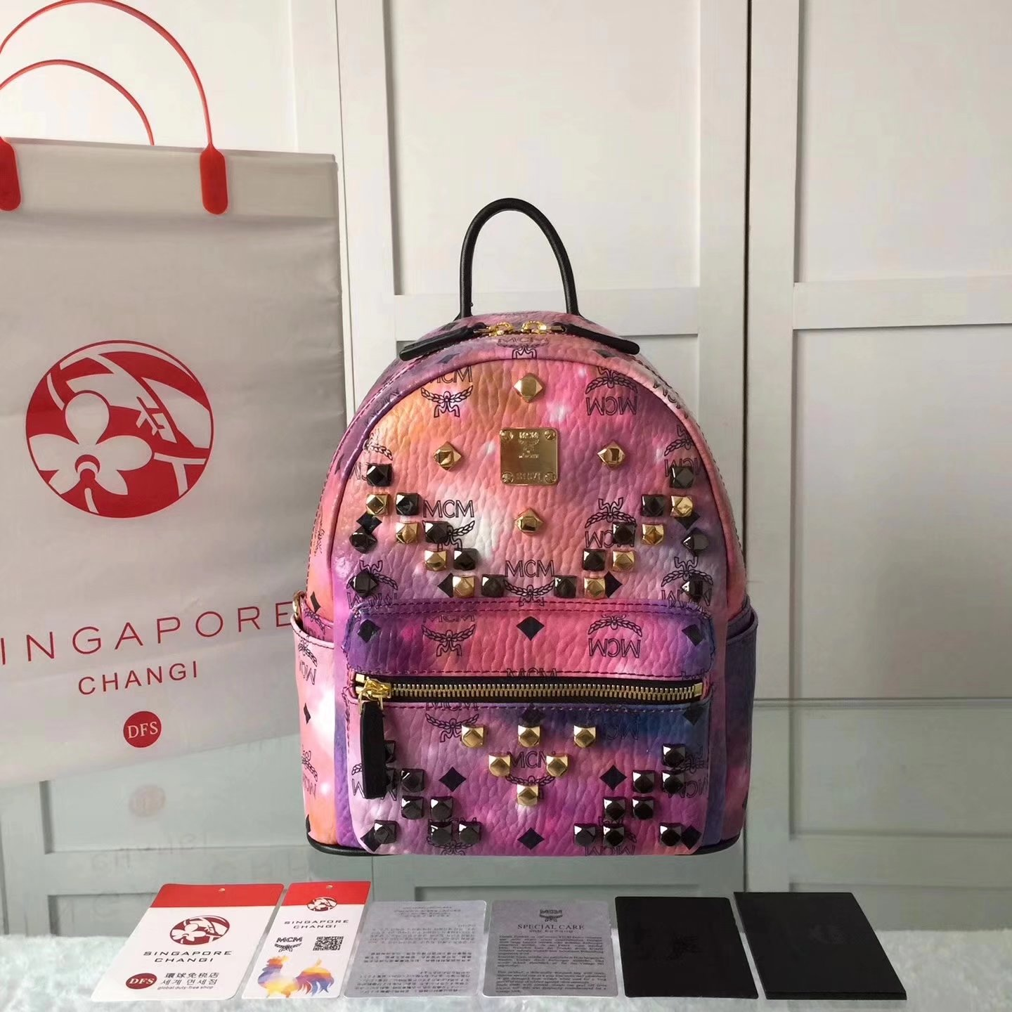 MCM Women Stark Backpack In Studded Visetos 3Size Pink