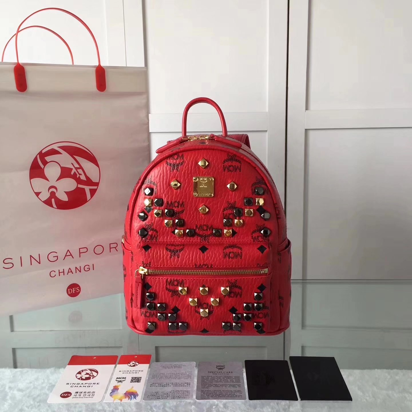 MCM Women Stark Backpack In Studded Visetos 3Size Red