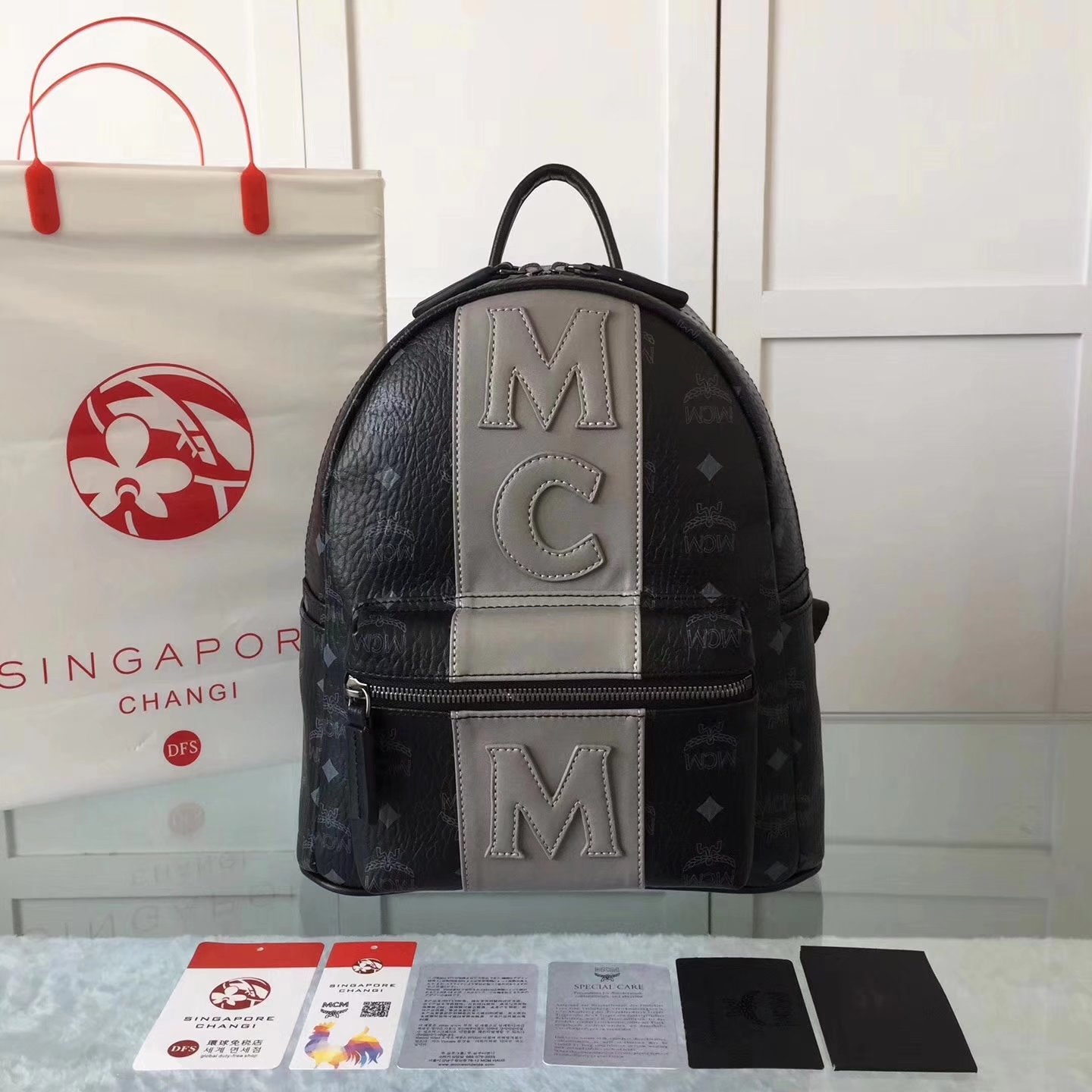 MCM Women Visetos Stark Strip Backpack Black