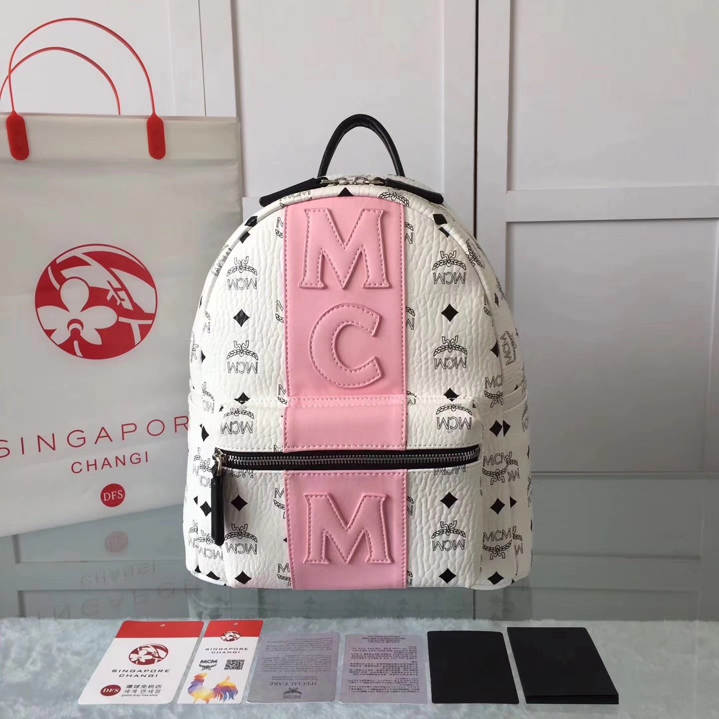 MCM Women Visetos Stark Strip Backpack White