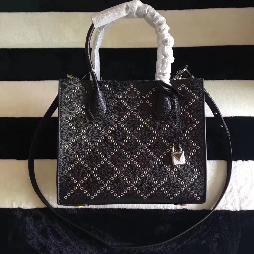 Michael Kors Mercer Grommeted Leather Tote Bag Black