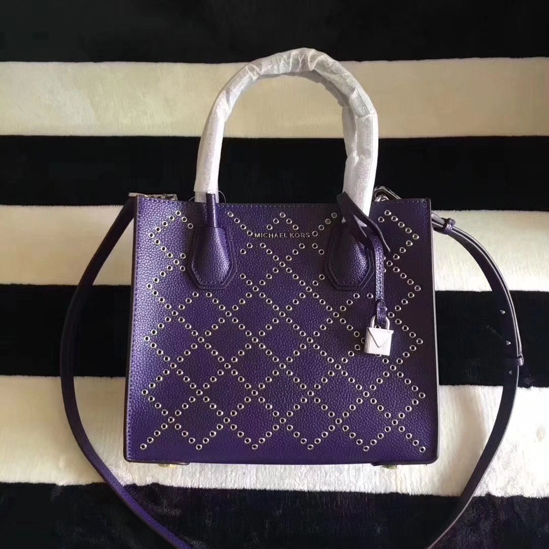 Michael Kors Mercer Grommeted Leather Tote Bag iris