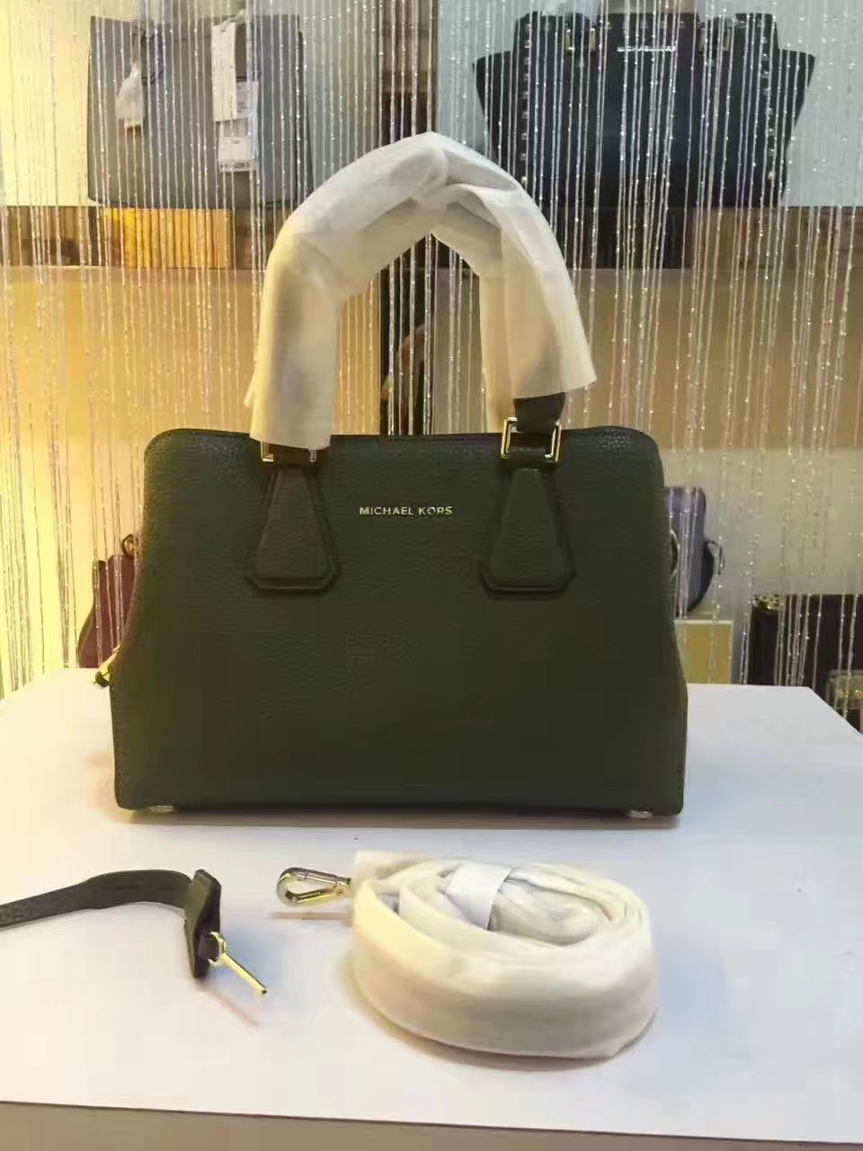 Michael Kors Mercer Large Color-Block Patent Leather Green