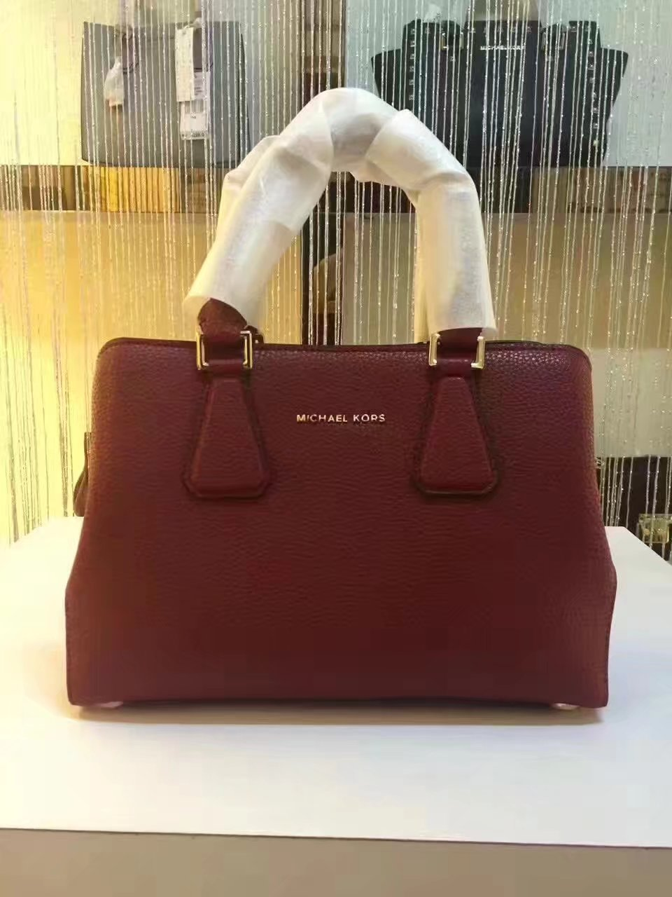 Michael Kors Mercer Large Color-Block Patent Leather Tote Red