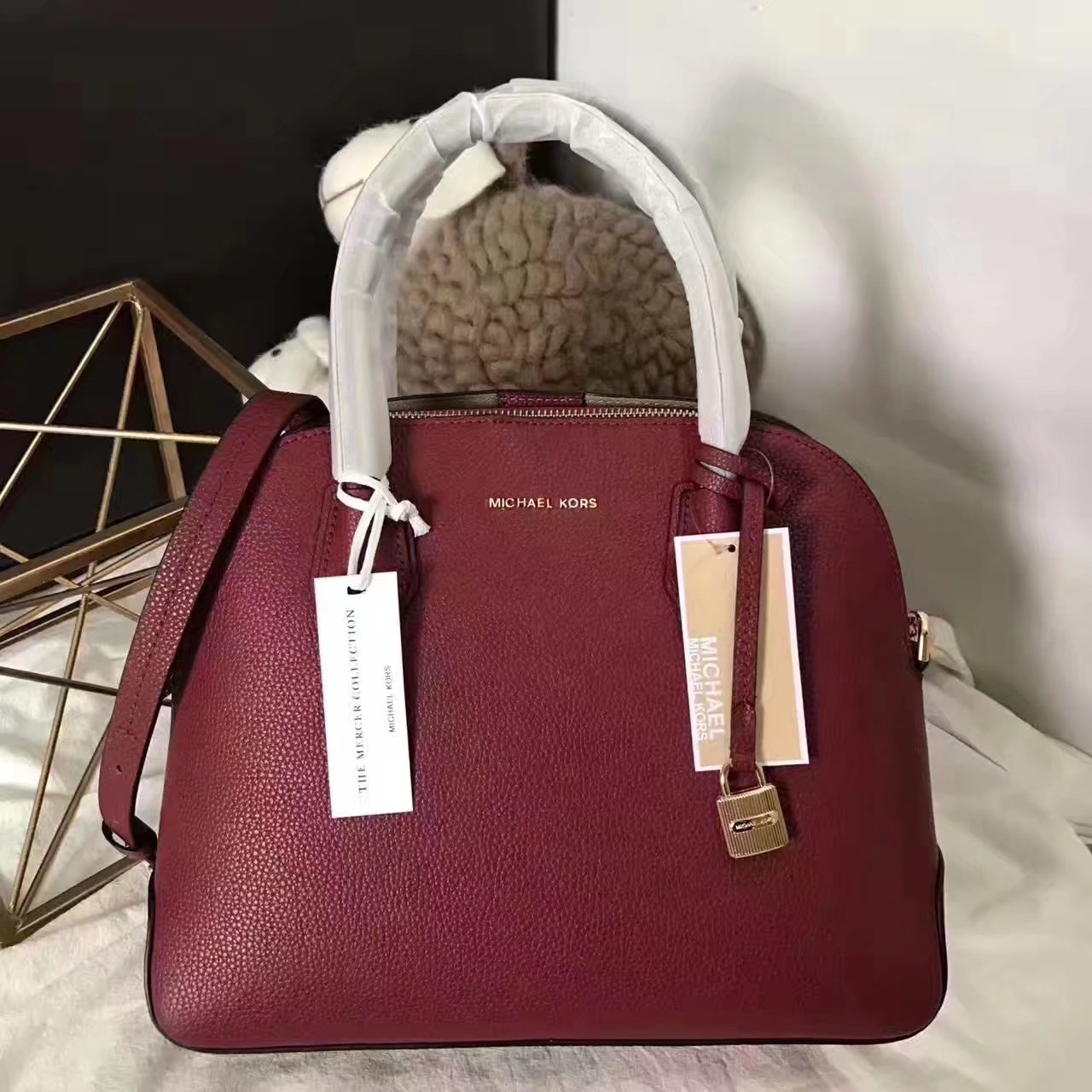 Michael Kors Mercer Large Leather Dome Satchel Red