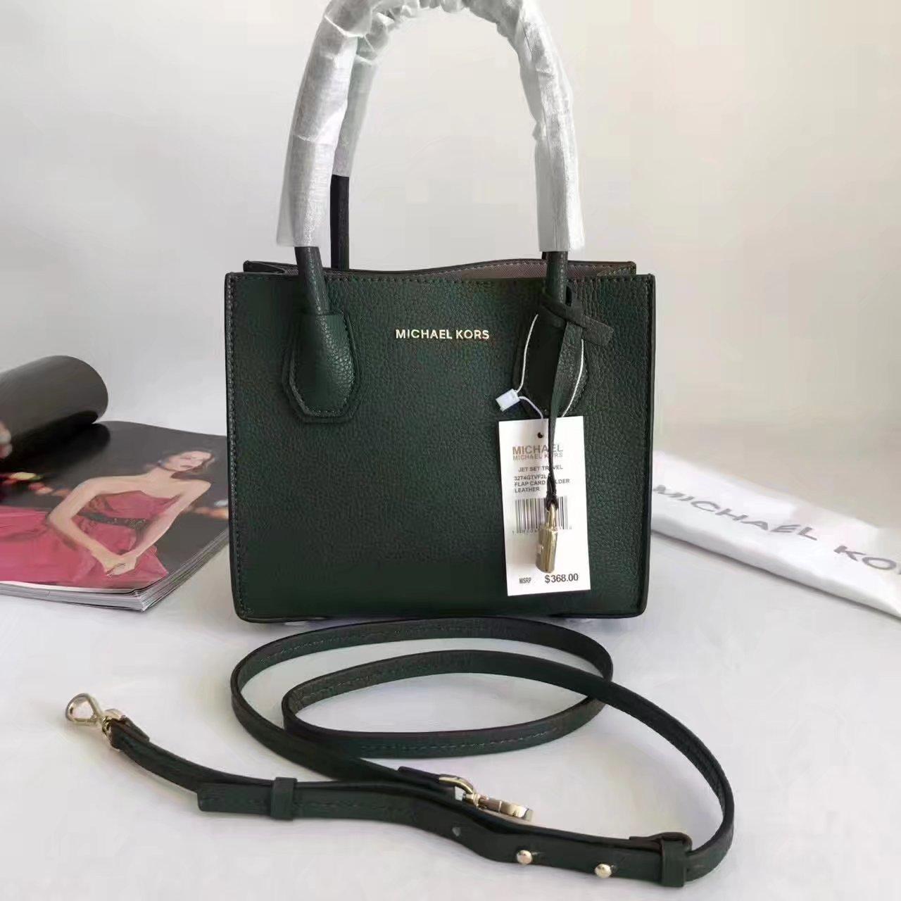 Michael Kors Mercer Leather Crossbody Green
