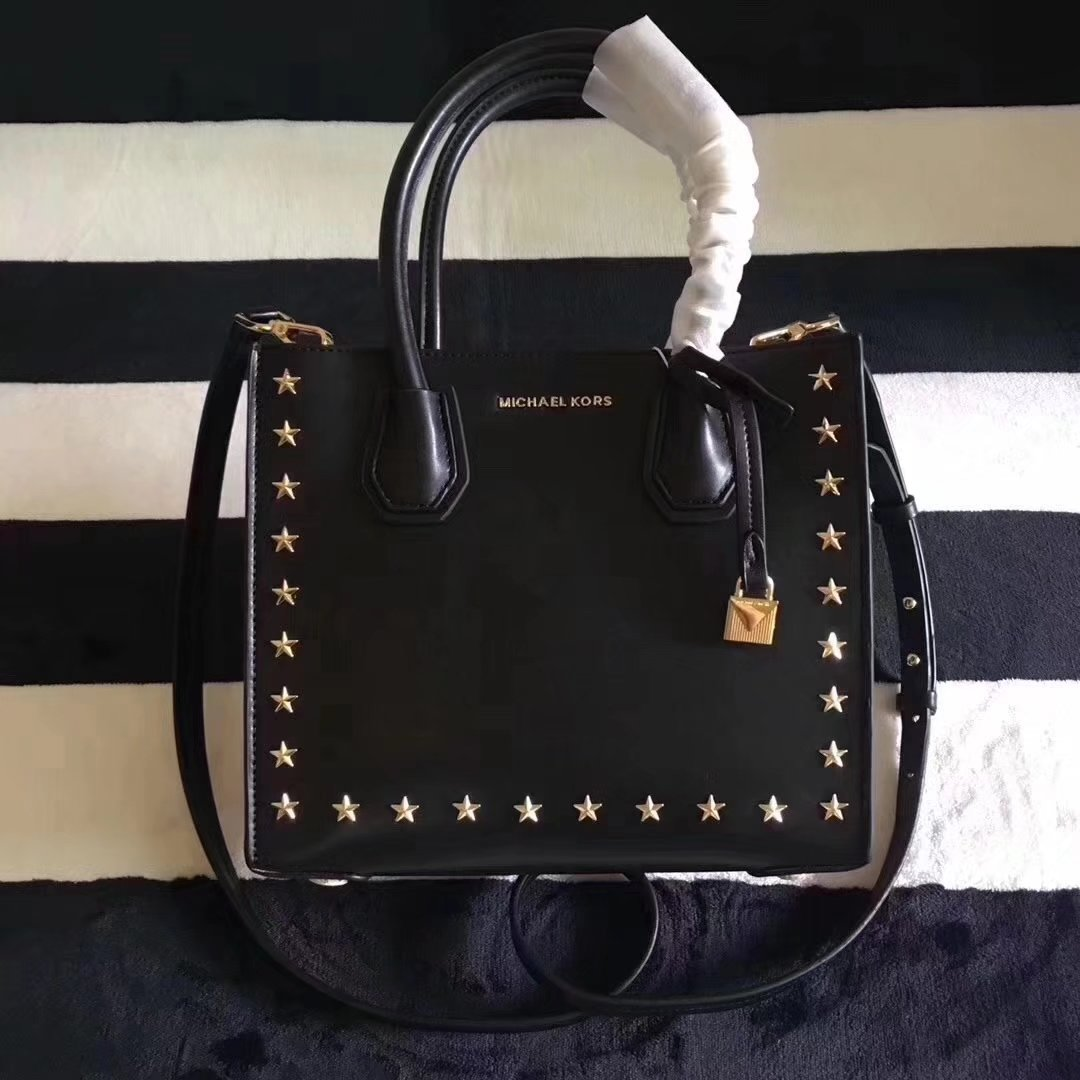 Michael Kors Mercer Leather Rivet Tote Handbag Black