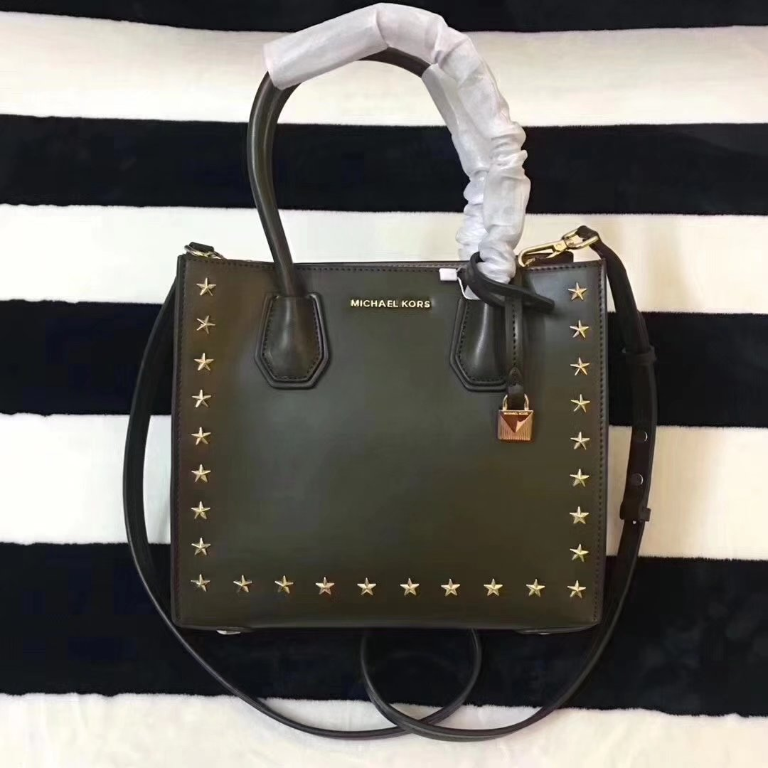 Michael Kors Mercer Leather Rivet Tote Handbag Green