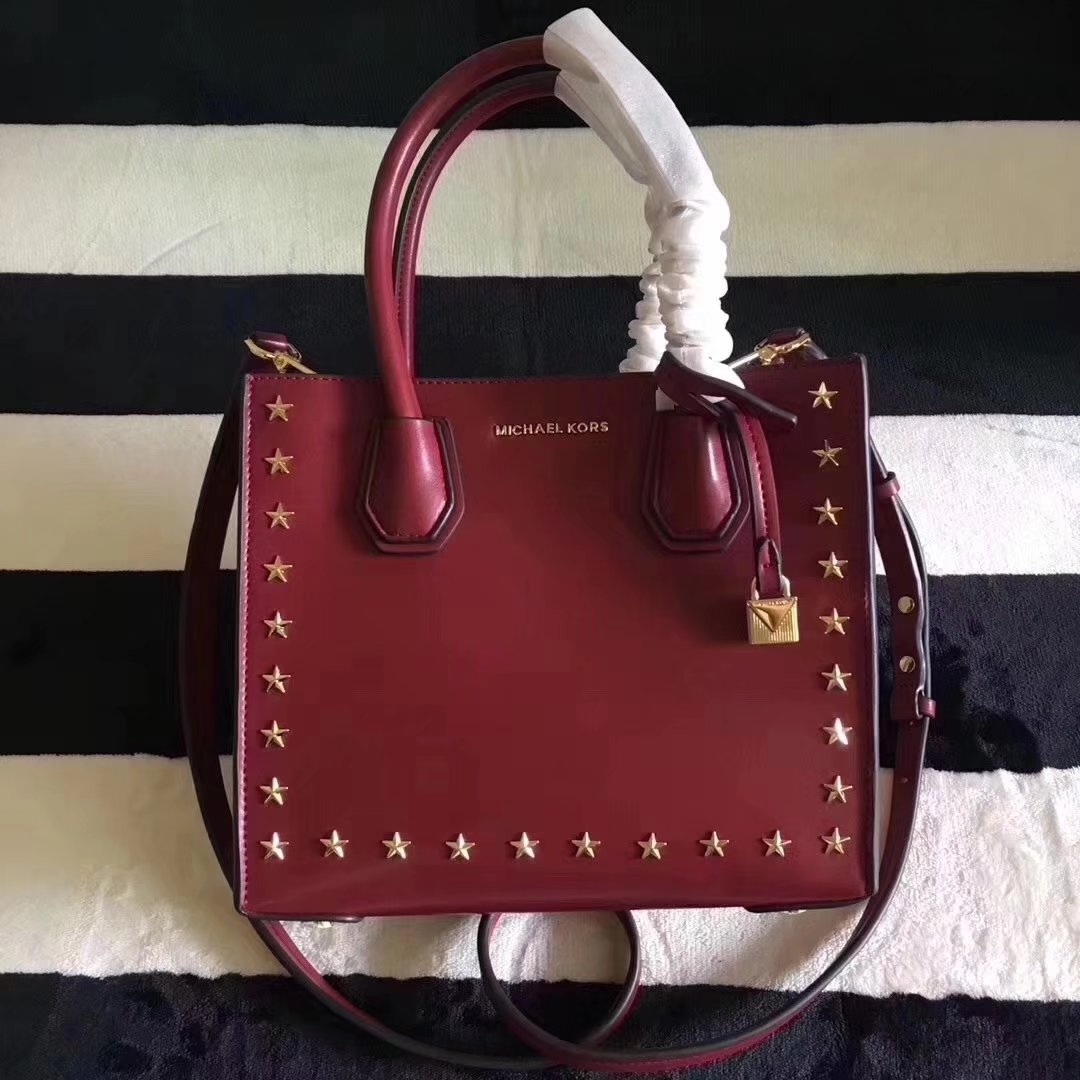 Michael Kors Mercer Leather Rivet Tote Handbag Red