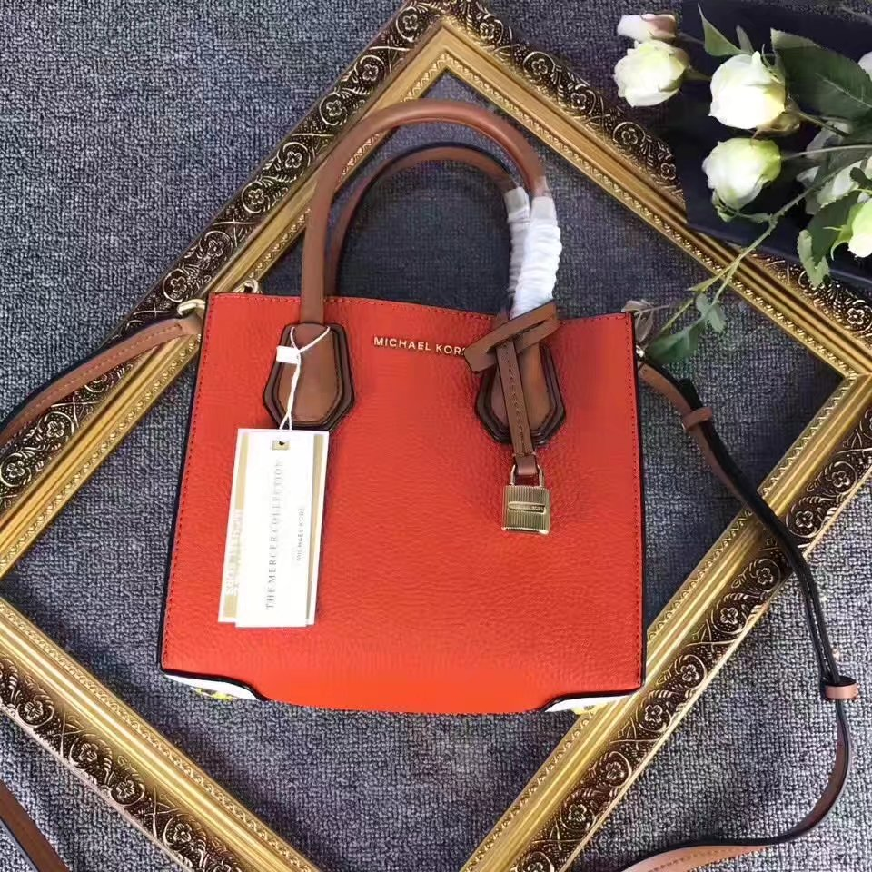Michael Kors Mercer Women Mixed Color Leather Bag Orange