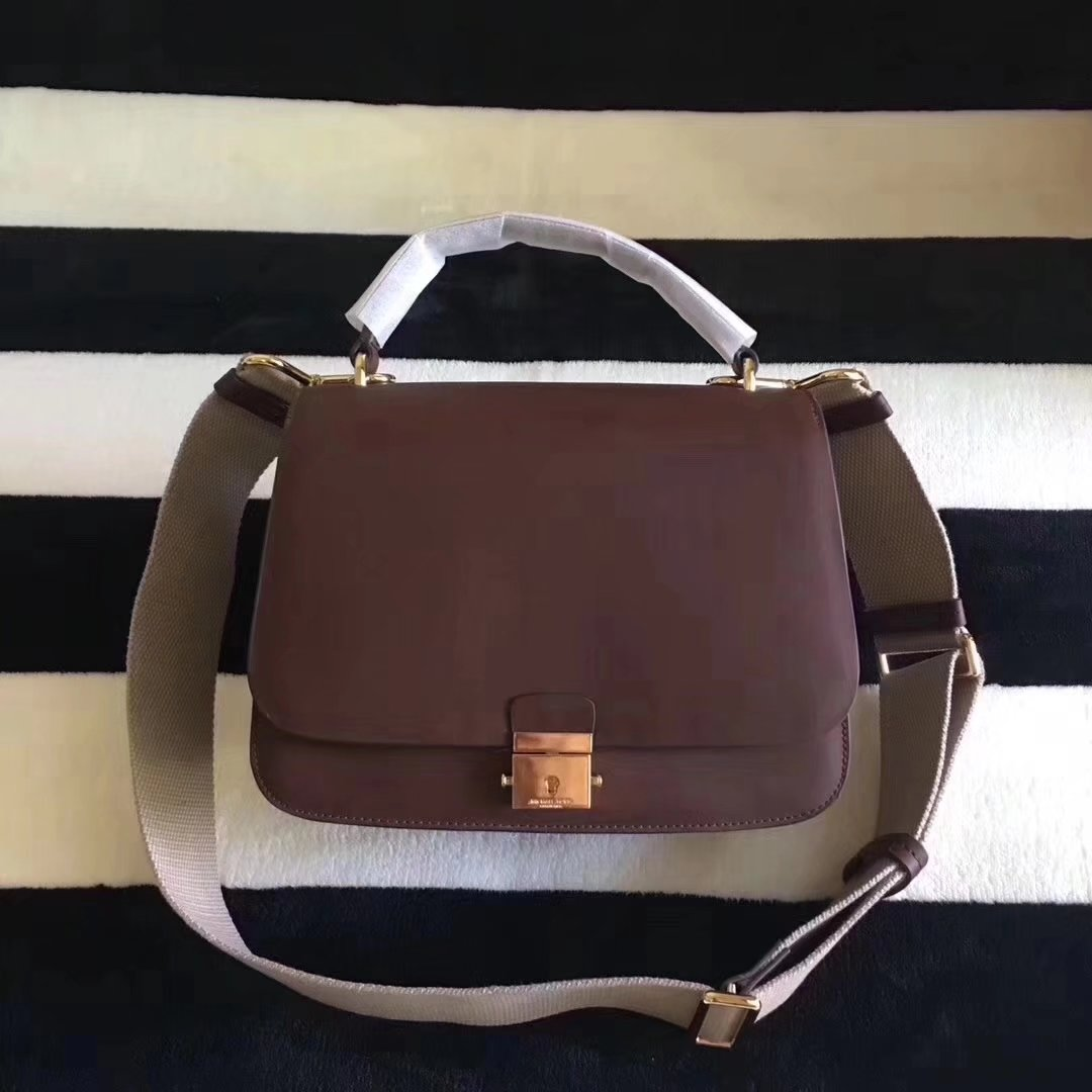 Michael Kors Mia French Calf Leather Shoulder Bag Satchel Brown