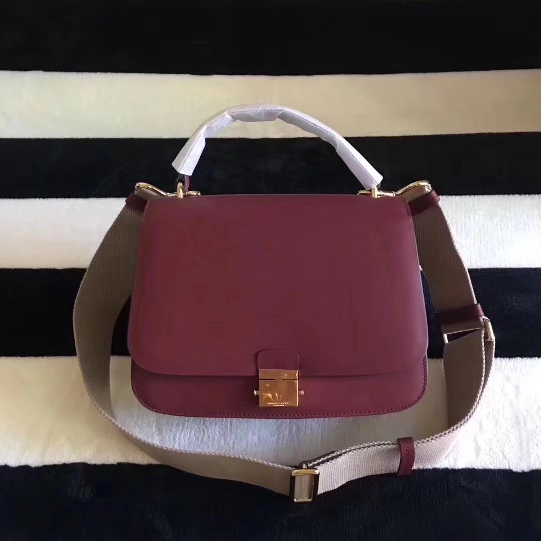 Michael Kors Mia French Calf Leather Shoulder Bag Satchel Red
