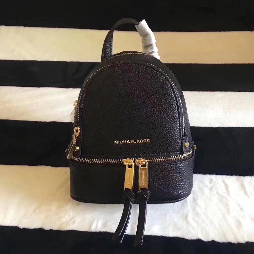 Michael Kors Rhea Zip Mini Women Leather Backpack Black