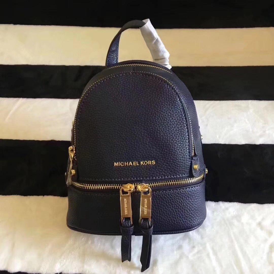 Michael Kors Rhea Zip Mini Women Leather Backpack Blue