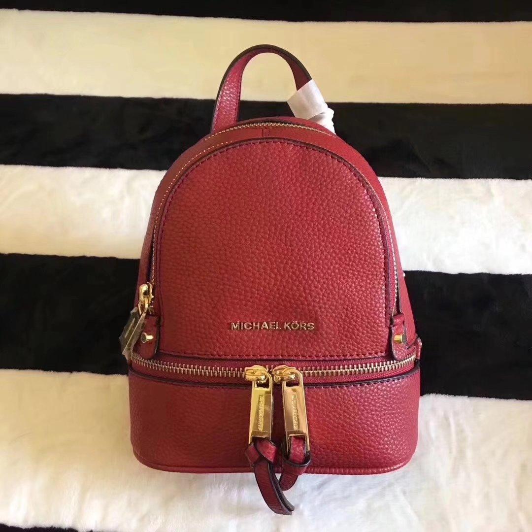Michael Kors Rhea Zip Mini Women Leather Backpack Red