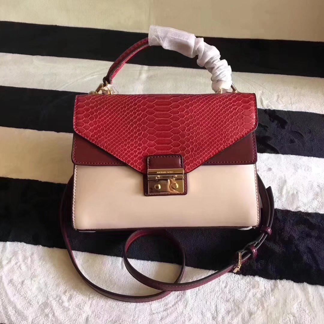 Michael Kors Sloan Imitation Snake Medium Shoulder Bag Red