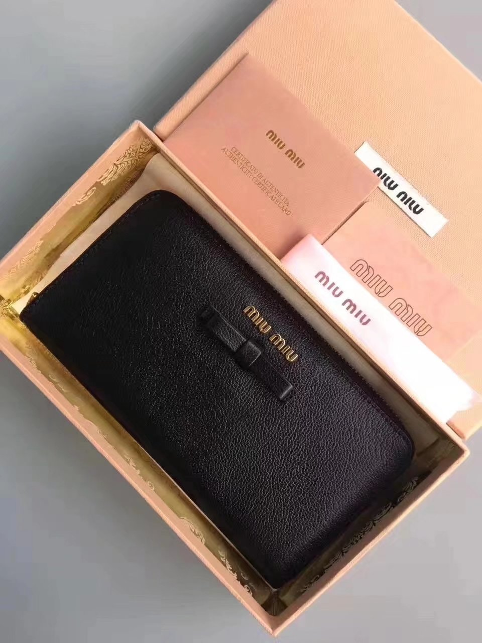 MiuMiu Goat Leather Zipper Women Wallet Black