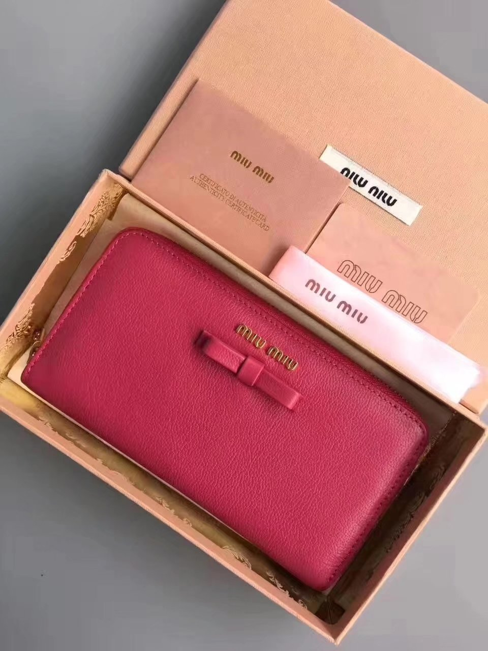 MiuMiu Goat Leather Zipper Women Wallet Red