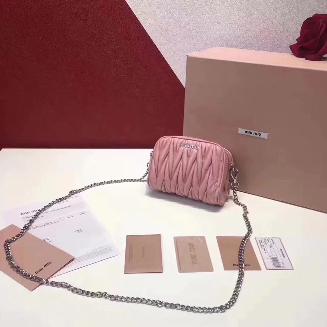 MiuMiu Mini Leather Shoulder Bag Pink