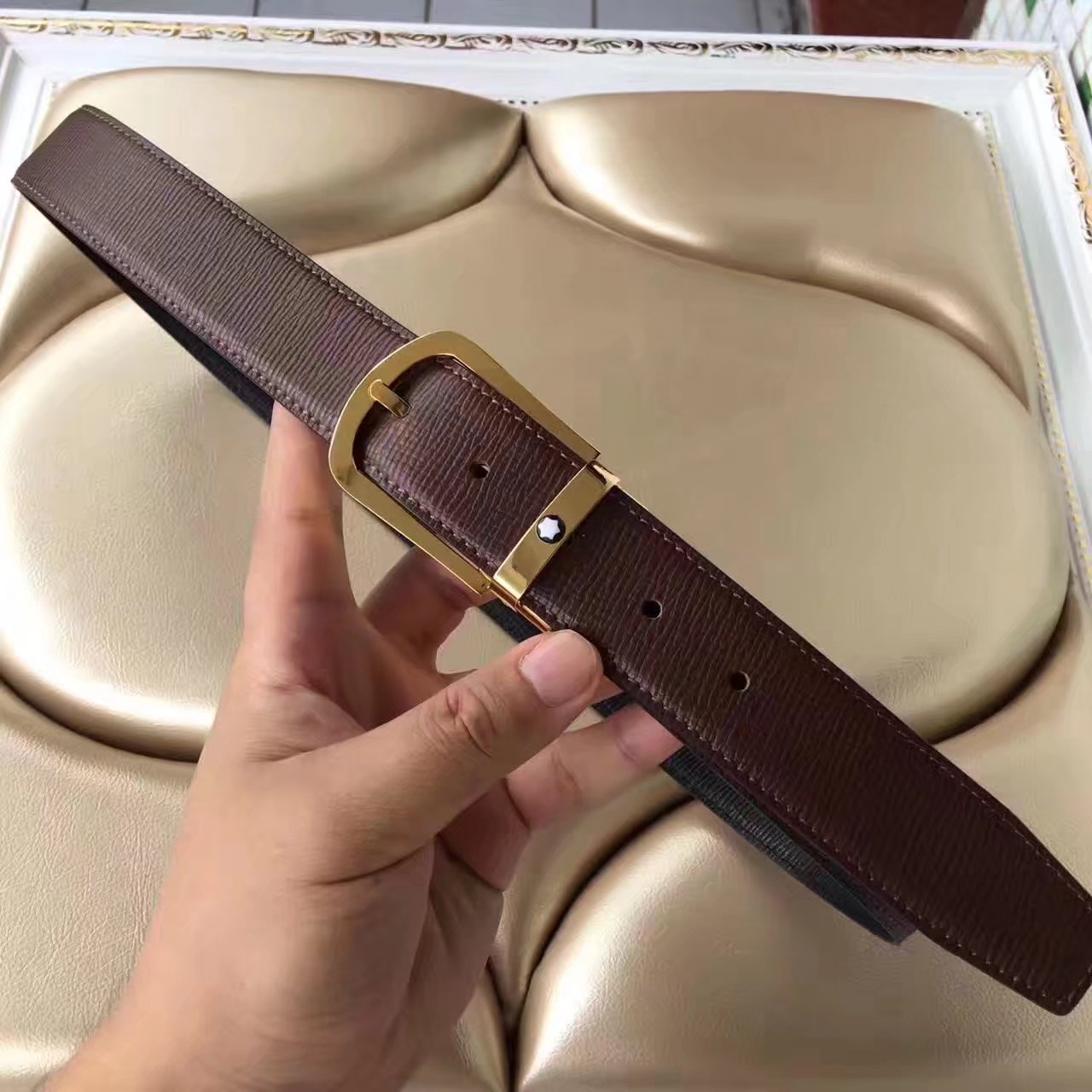 Montblanc Men Reversible Leather Brown Belt With Gold Buckle 007