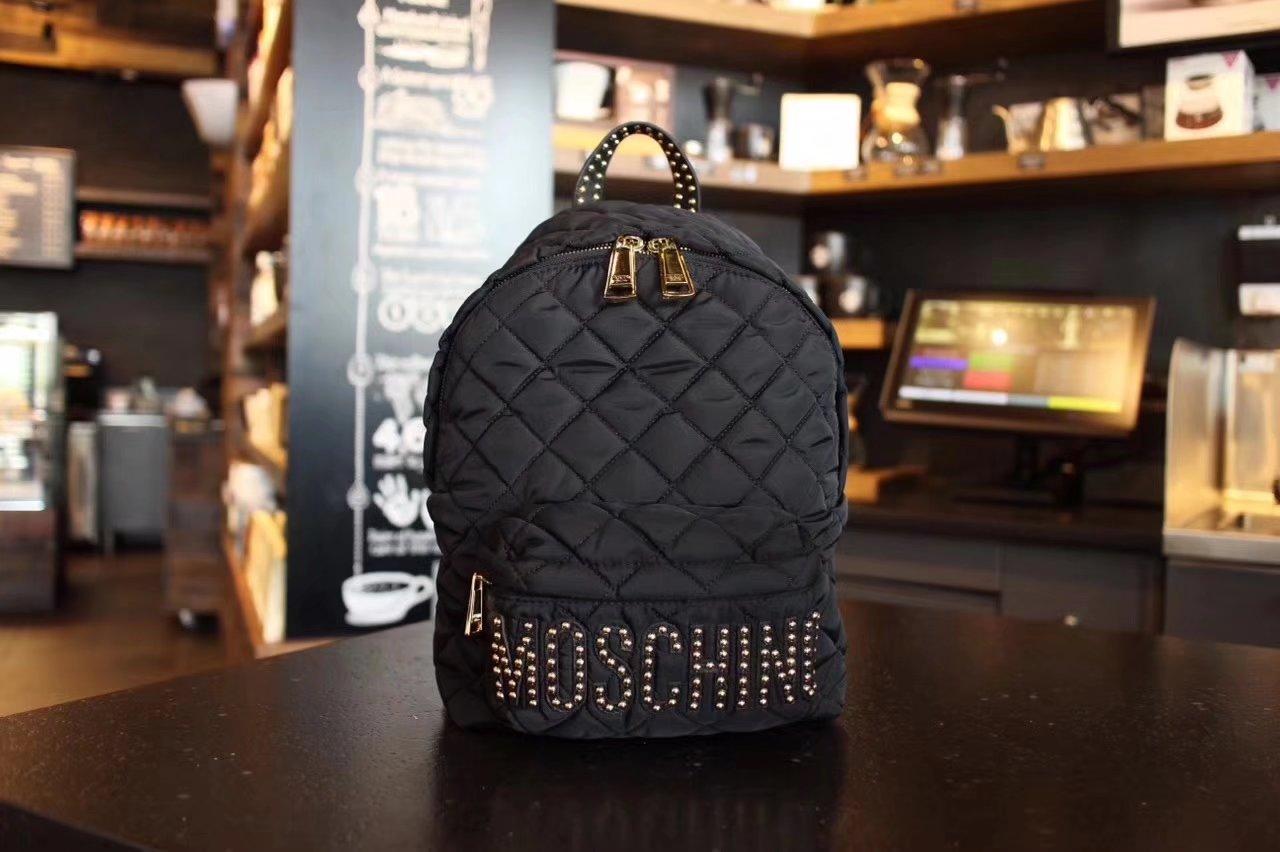 Moschino Diamond Pattern Women Backpack Black