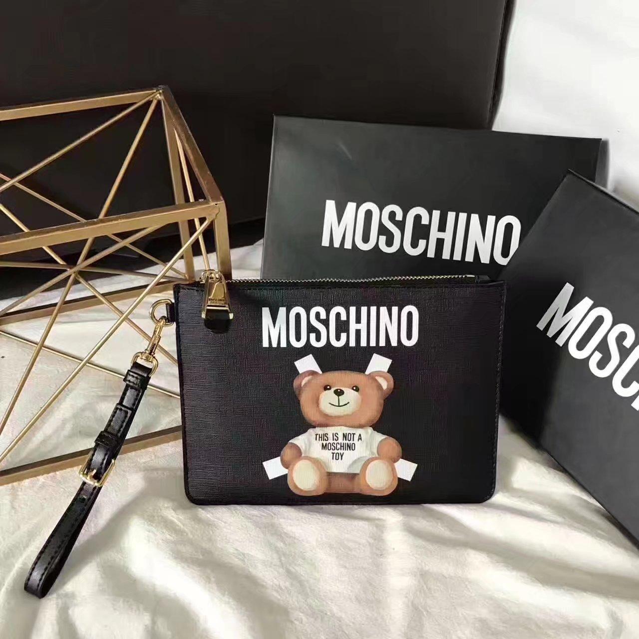 Moschino Toy Bear Paper Cut Put Clutch Bag Black