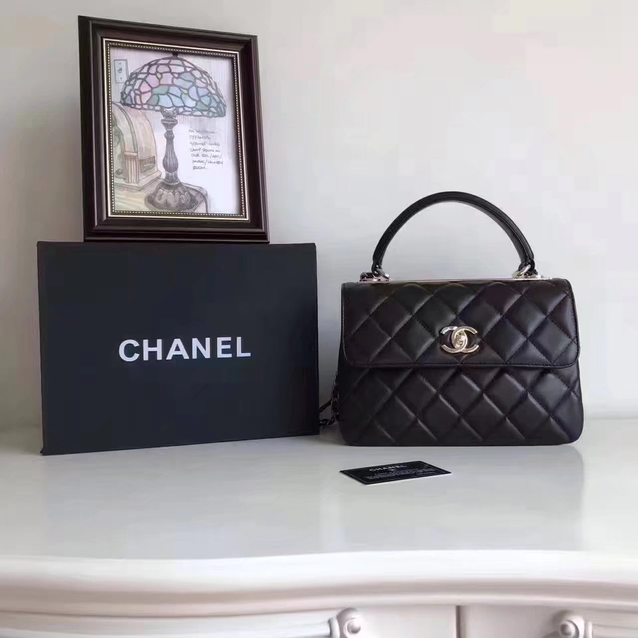 Original Chanel Flap Bag With Top Handle Lambskin Gold Black