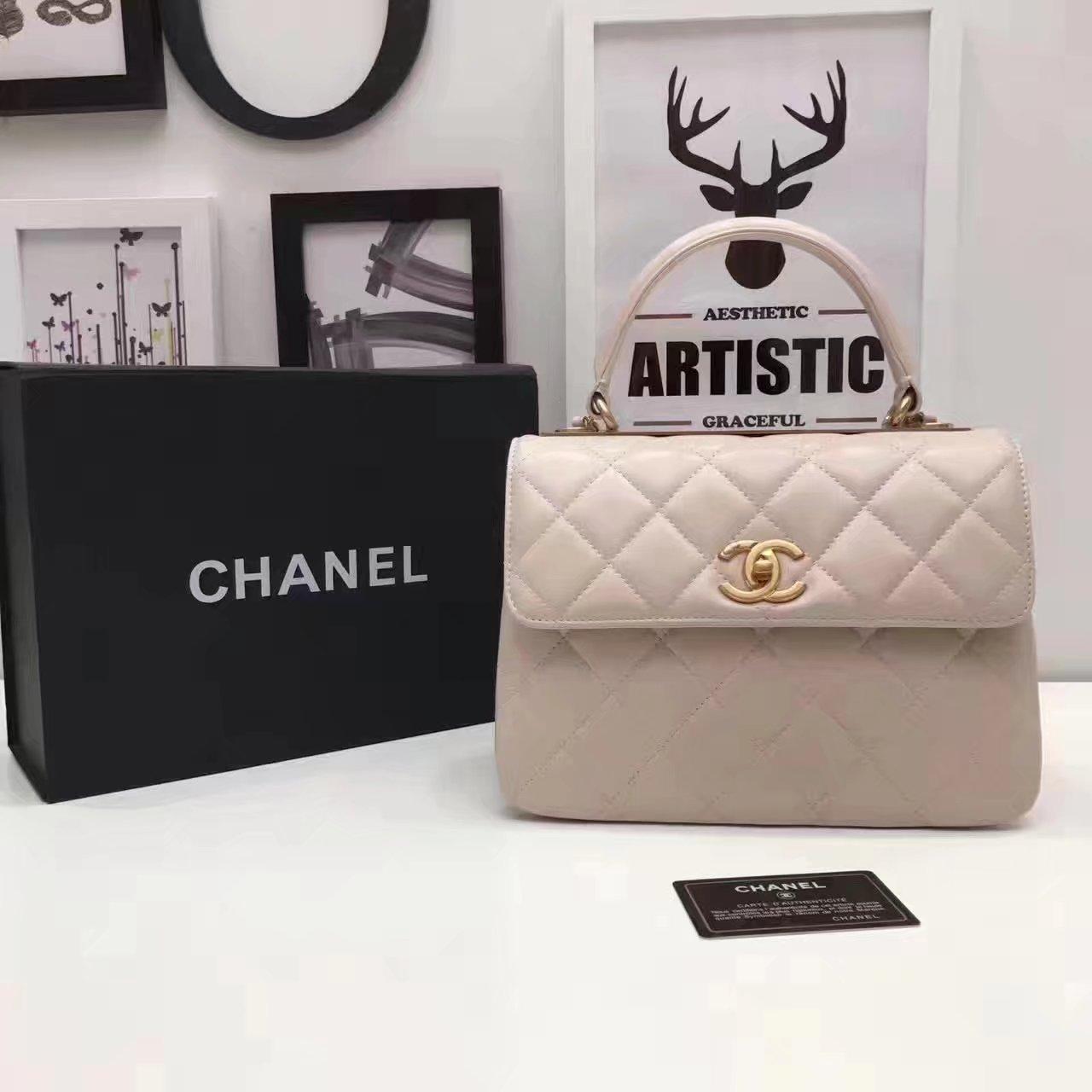 Original Chanel Flap Bag With Top Handle Lambskin Gold Khaki