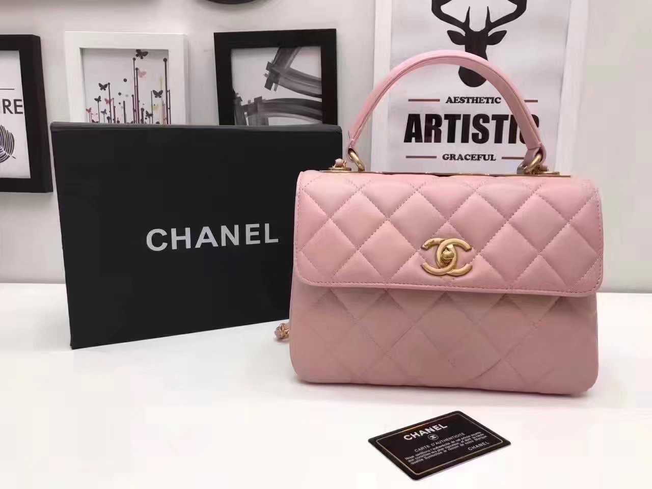 Original Chanel Flap Bag With Top Handle Lambskin Gold Pink