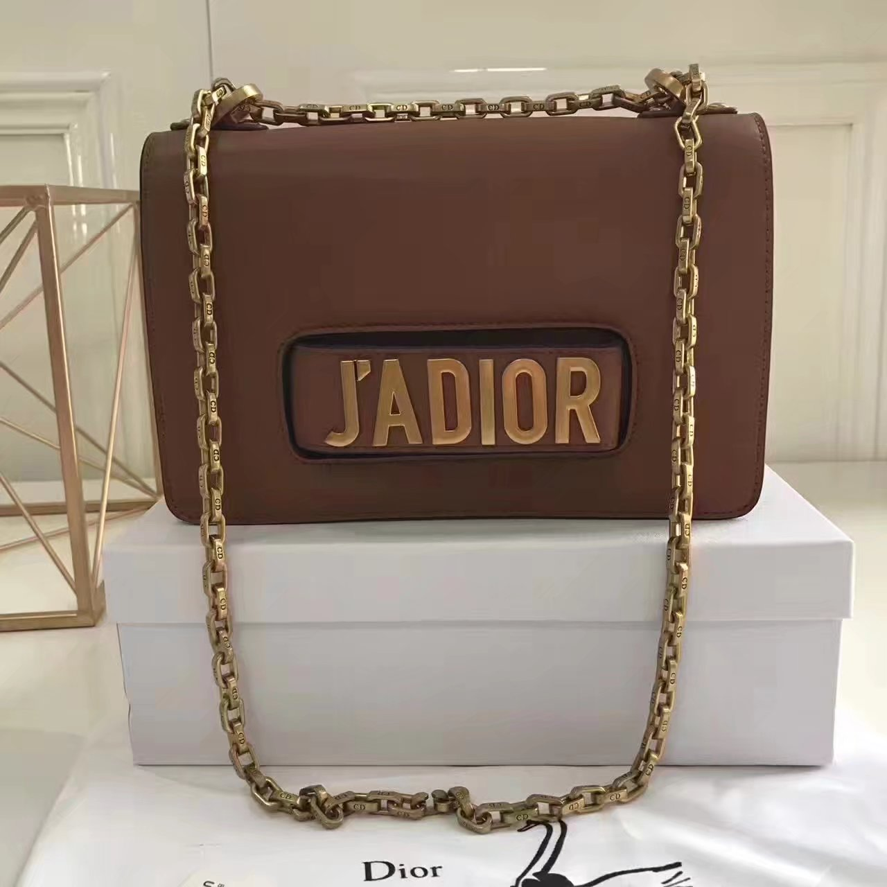 Original Dior J'ADIOR Flap Bags With Chain in Coffee