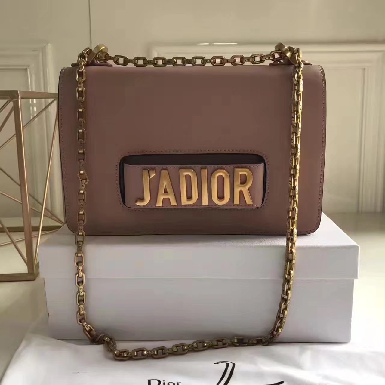 Original Dior J'ADIOR Flap Bags With Chain in Pink