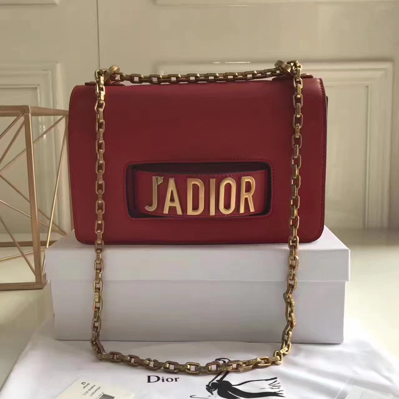 Original Dior J'ADIOR Flap Bags With Chain in Red