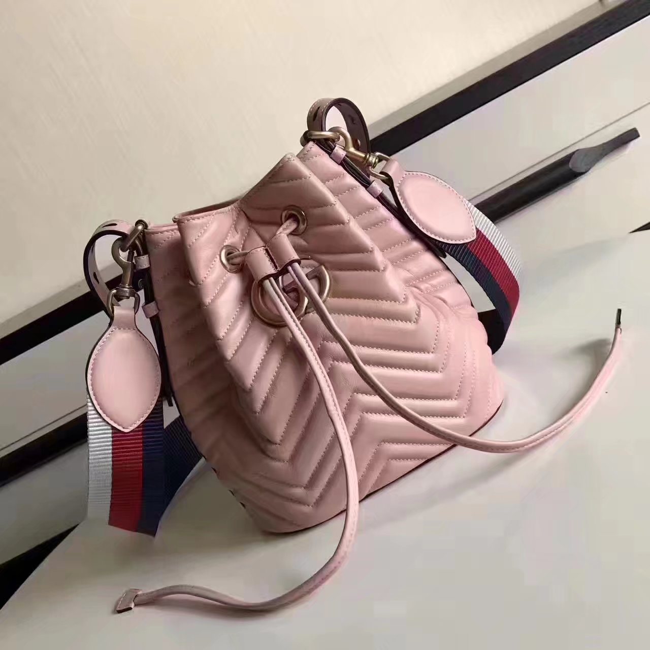 Original Gucci 476674 GG Marmont Quilted Leather Bucket Bag Light Pink