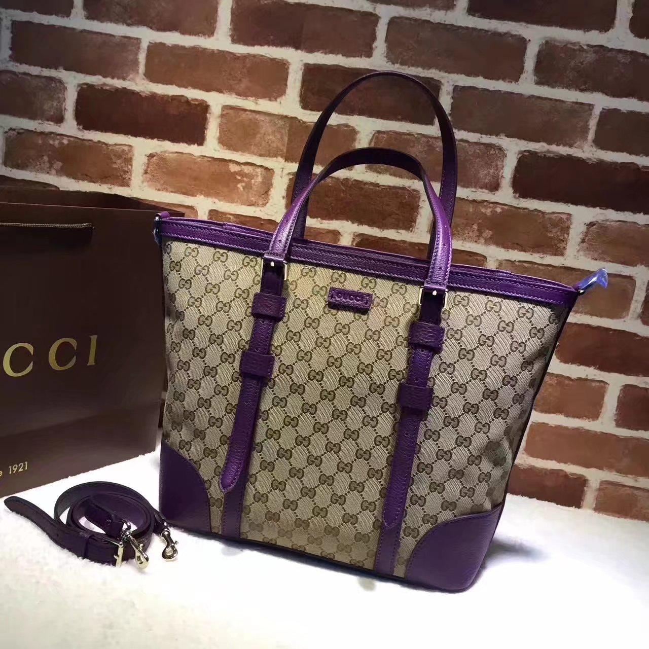 Original Gucci 387602 GG Supreme Women Tote Bag Purple
