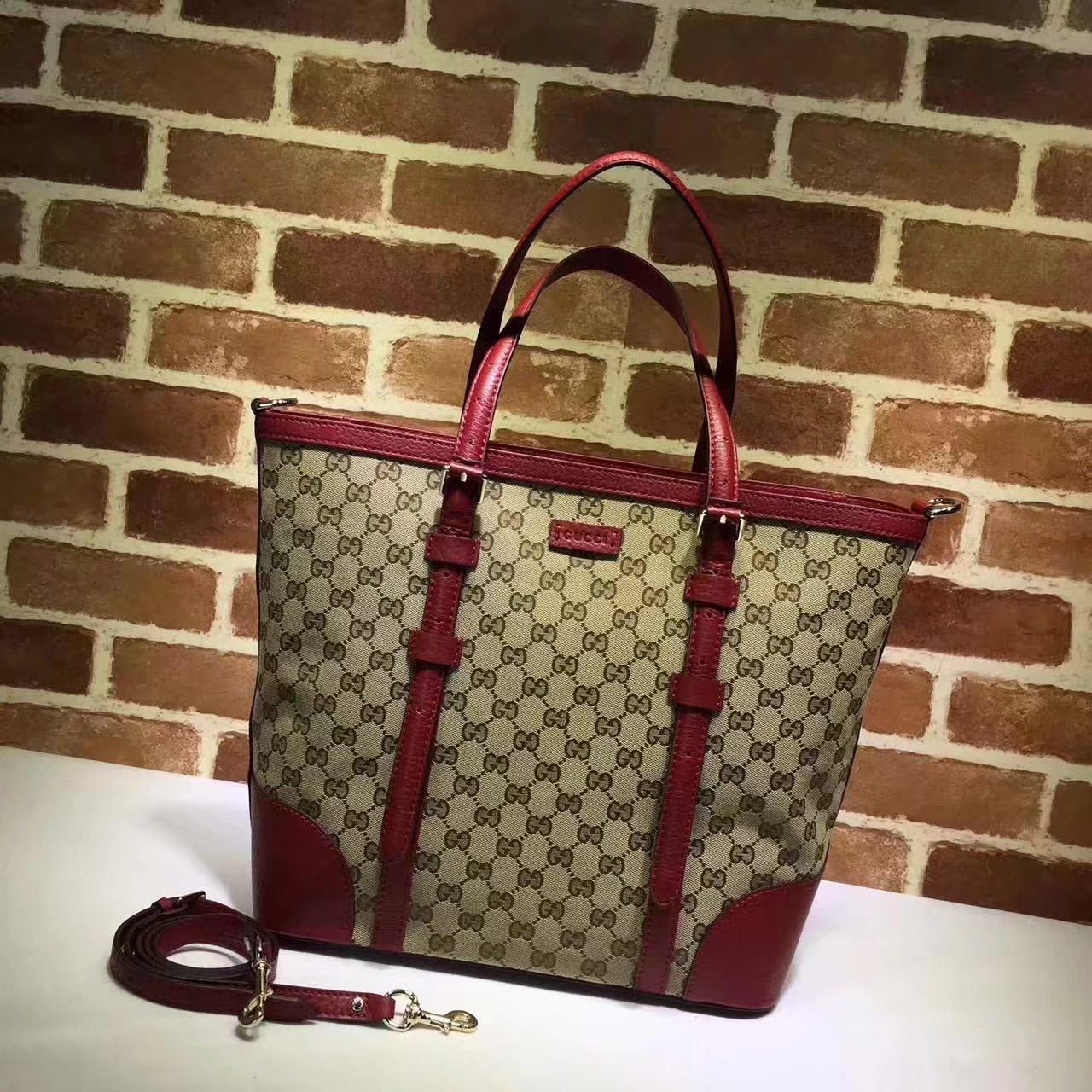 Original Gucci 387602 GG Supreme Women Tote Bag Red