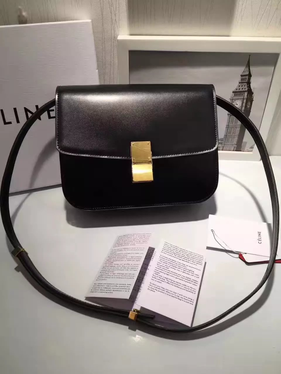 Original Quality Celine Clasp Classic Box Bag Medium Black