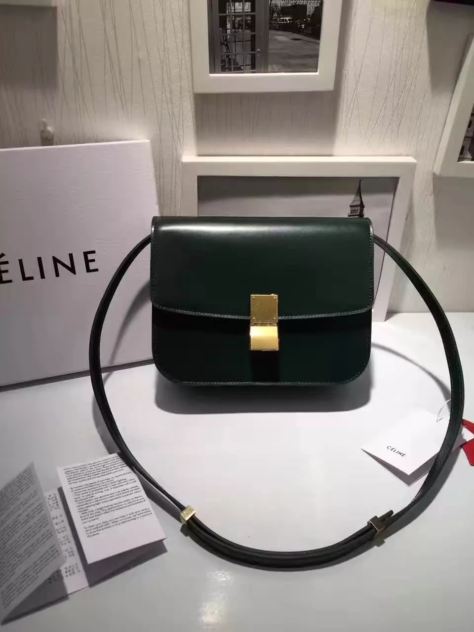 Original Quality Celine Clasp Classic Box Bag Medium Forest Green