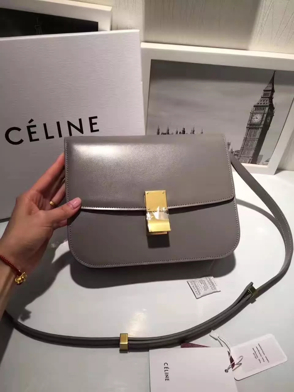 Original Quality Celine Clasp Classic Box Bag Medium Grey
