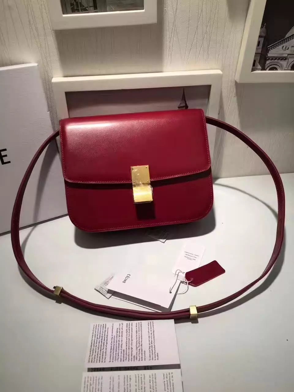 Original Quality Celine Clasp Classic Box Bag Medium Red