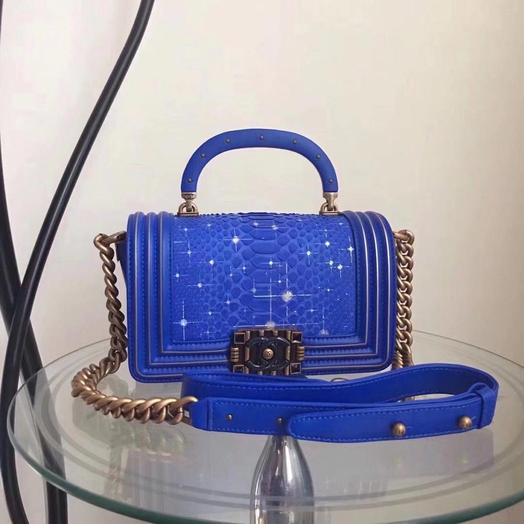 Original Quality Chanel Blue Python 20cm Boy Bag with Top Handle Bronze Hardware