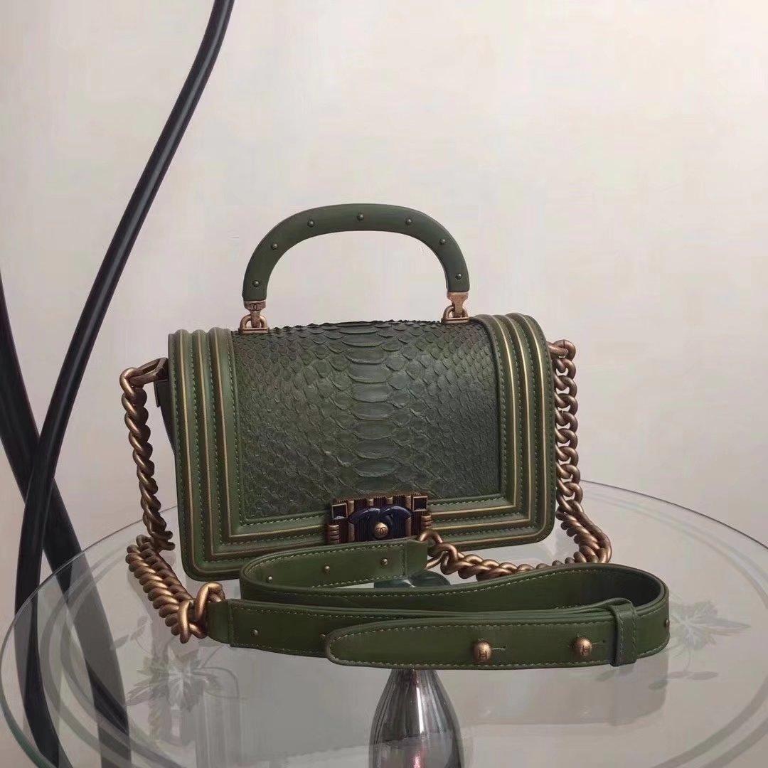 Original Quality Chanel Green Python 20cm Boy Bag with Top Handle Bronze Hardware