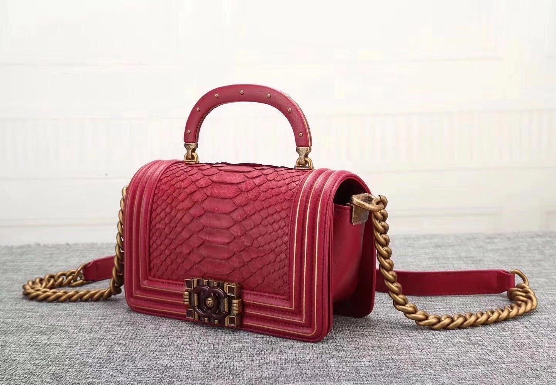 Original Quality Chanel Red Python 20cm Boy Bag with Top Handle Bronze Hardware