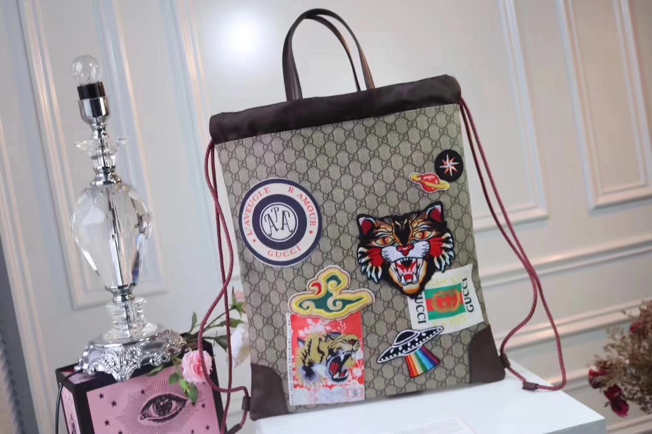 Original Quality Gucci 473872 Gucci Courrier Soft GG Supreme Drawstring Backpack